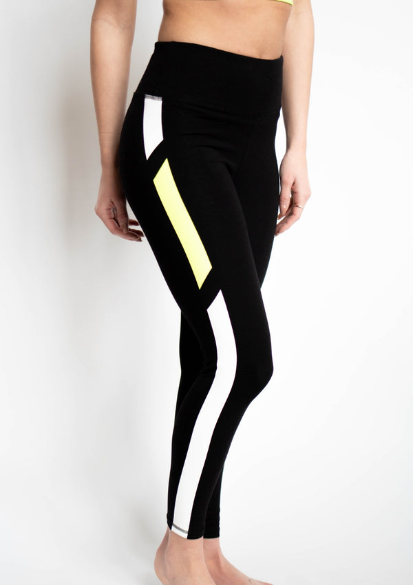 Black Highwaist Neon Striped Leggings