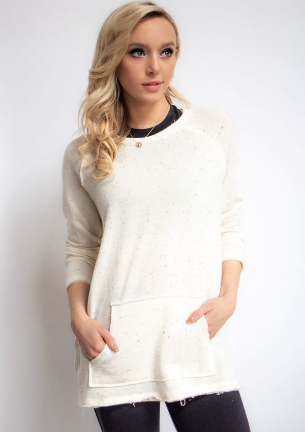 Raw Edge Speckled Knit Sweatshirt