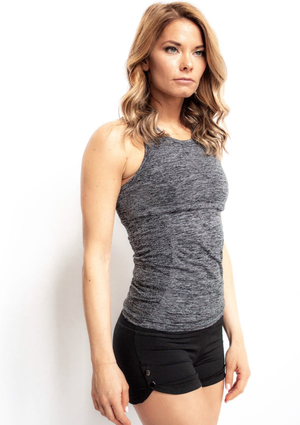 Seamless Melange Racerback Tank Top with Cutout Details