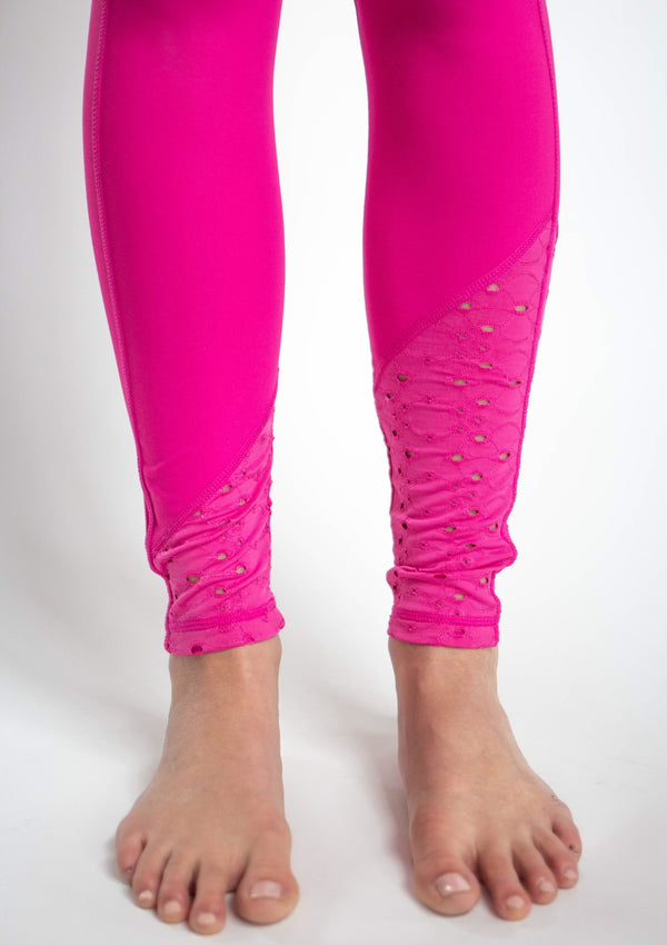 High Waist Legging With Laser Cut Lace