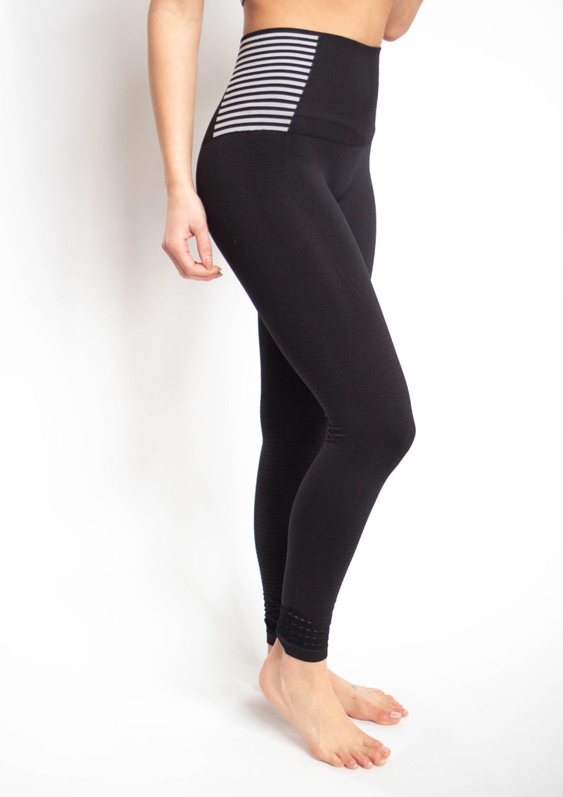 Seamless Striped and Perforated High Waist Leggings