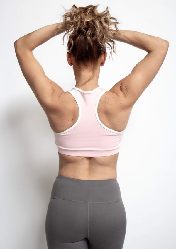Light Pink Colorblock Striped Racerback Sports Bra
