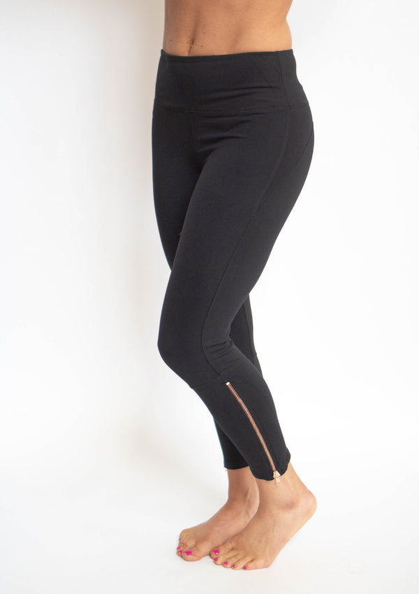 Rose Gold Zipper Capri Leggings