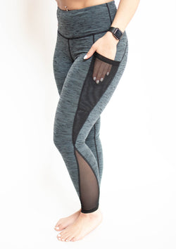 Highwaist Marle Grey Slanted Mesh Pocket Leggings