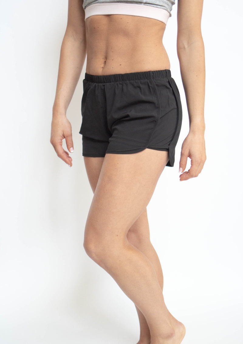 Solid Lined Dolphin Shorts with Elastic Waist Band