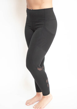 Black Highwaist Zig Zag Mesh Leggings