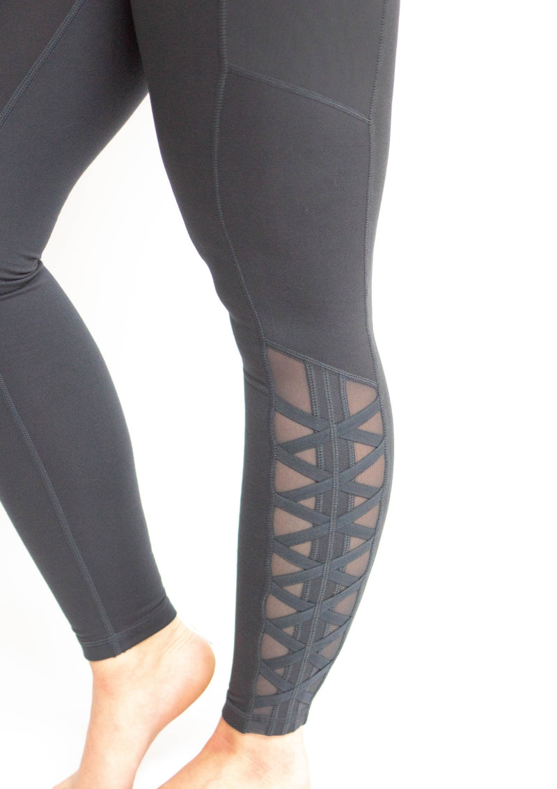 Pine Mesh Lattice Strap Leggings