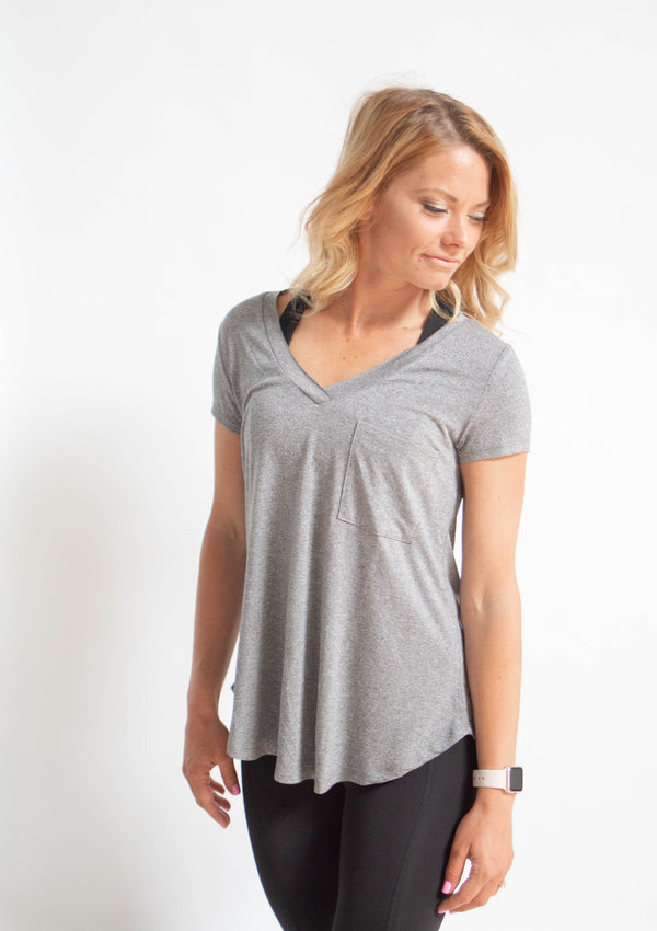 Gray Longline V-Neck Pocket T-Shirt