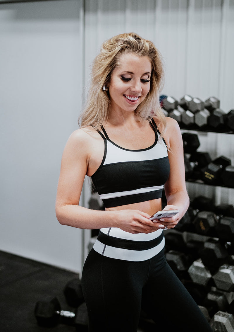 Black and White Overlay Back Sports Bra