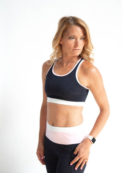 Navy Lattice Back Colorblock Racerback Sports Bra
