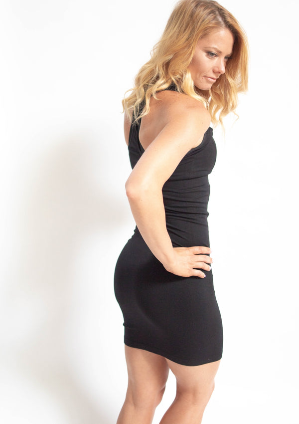 Black Seamless Racerback Midi Dress