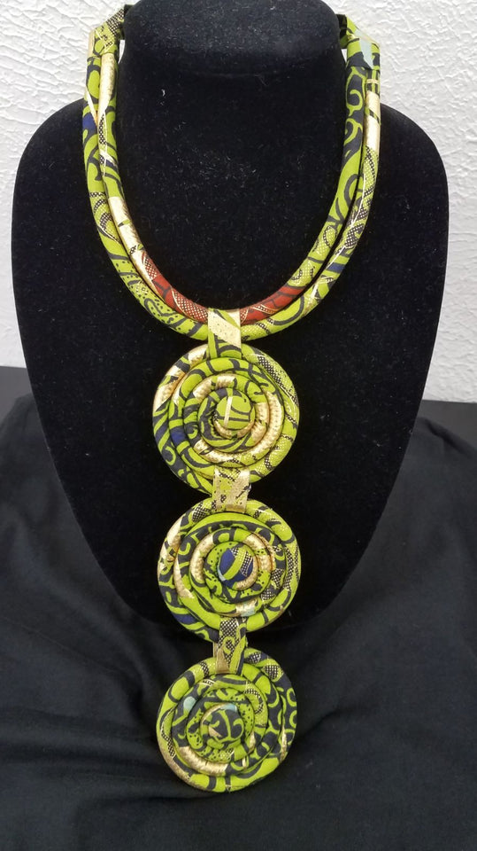 Ankara disc necklace