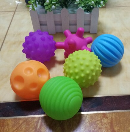 4&6pcs Textured Multi Ball Set soft develop baby tactile senses toy Baby touch hand training Massage ball Rattle Activity toys