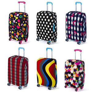 Cute 3D Flamingo Pattern With Stripes Pattern Luggage Protector Travel Luggage Cover Trolley Case Protective Cover Fits 18-32 Inch