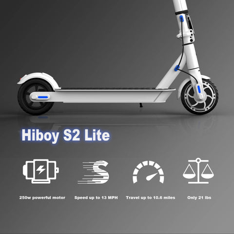 Hiboy S2 Lite Electric Scooter specs graphic