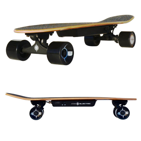 Image of Atom H4 Electric Skateboard double view, side and front angle