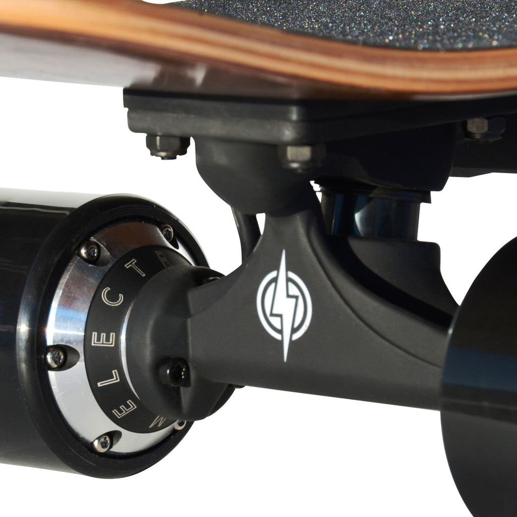 Atom H4 Electric Skateboard wheels and atom logo close up
