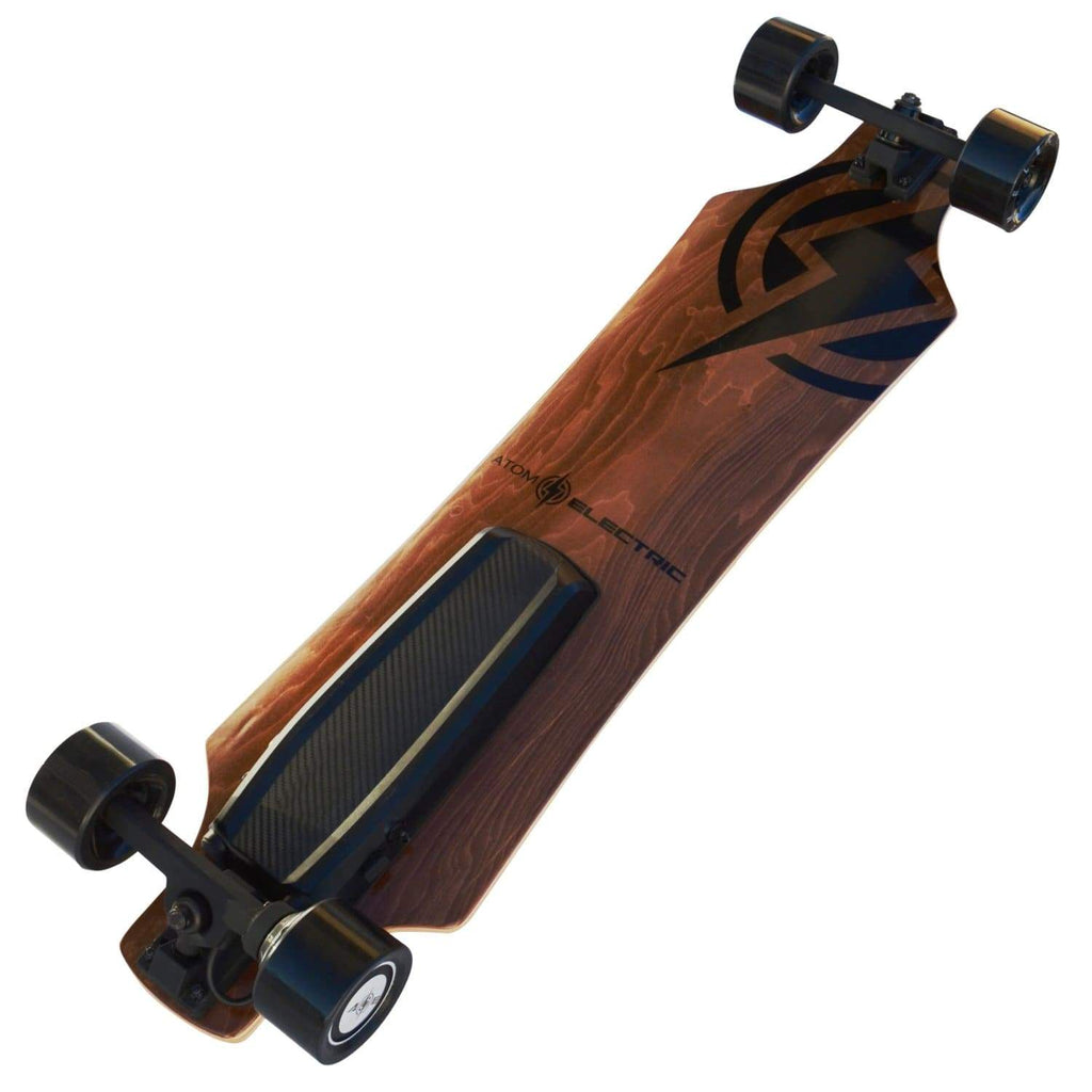 Atom H6 Electric Longboard leaning with bottom board deck view