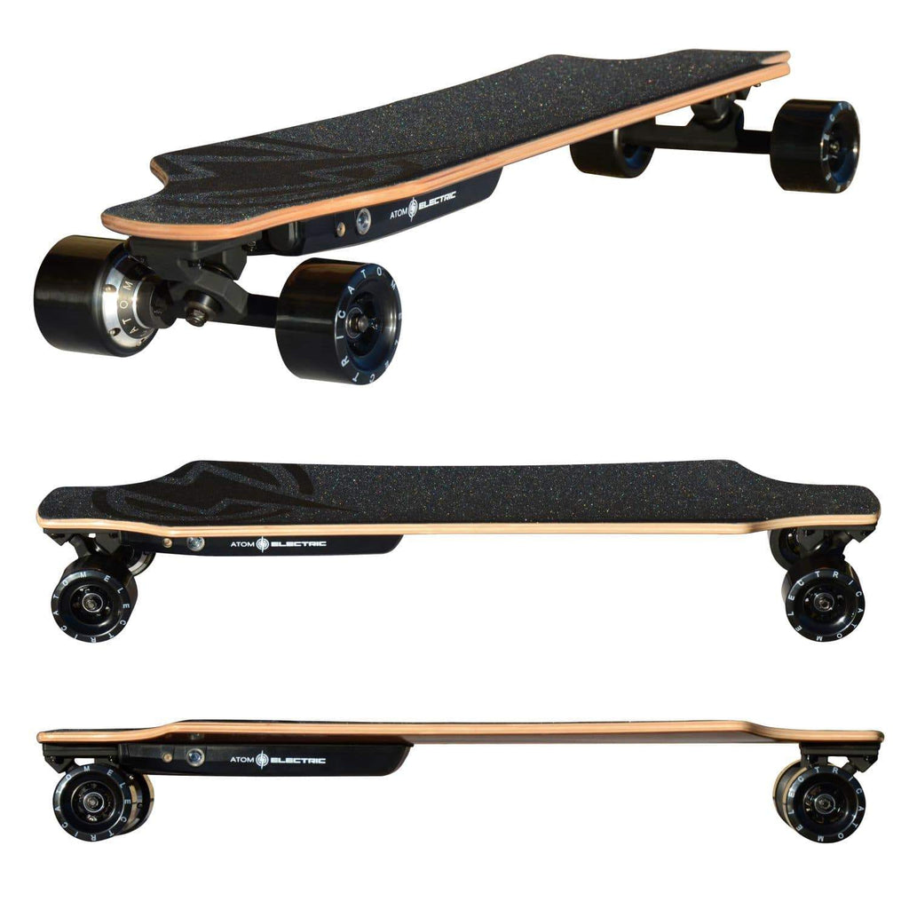 Atom H6 Electric Longboard triple, side top side and front angled view