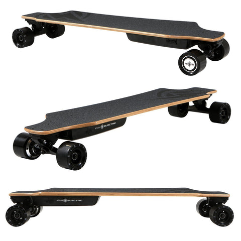 Image of Atom H10 Electric Longboard triple side, top angle and back angle views