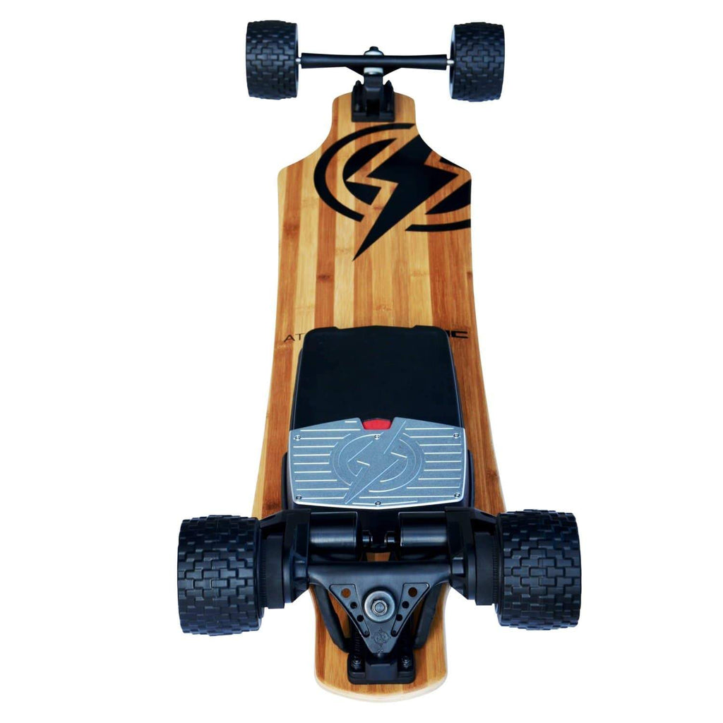 Atom B18-DX Electric Longboard bottom wheels and motor view