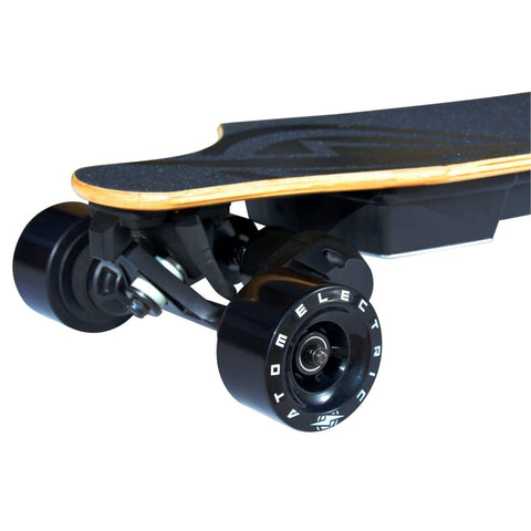 Image of Atom B18-DX Electric Longboard front nose and wheels close up