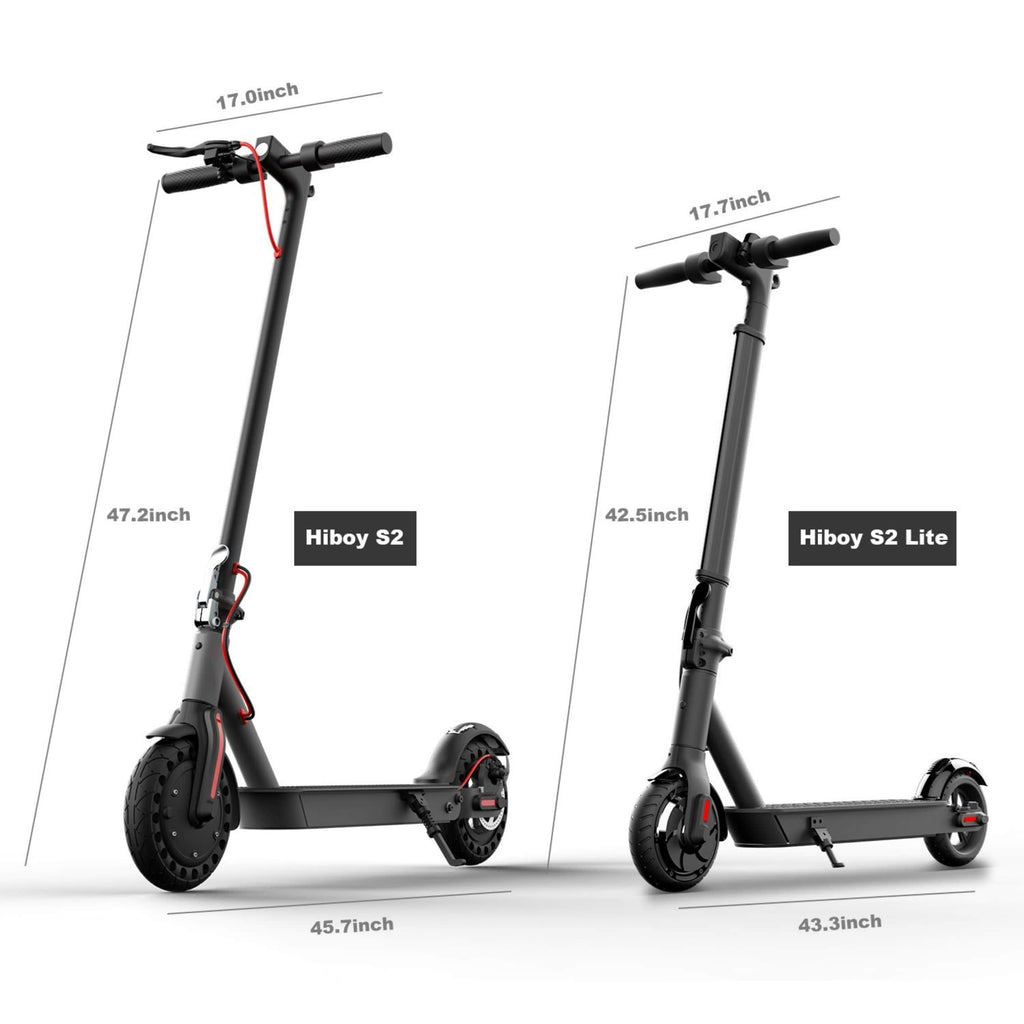 Hiboy S2 Lite Electric Scooter vs S2 regular model side by side size comparison