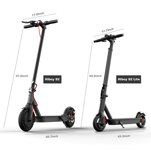 Image of Hiboy S2 Lite Electric Scooter vs S2 regular model side by side size comparison