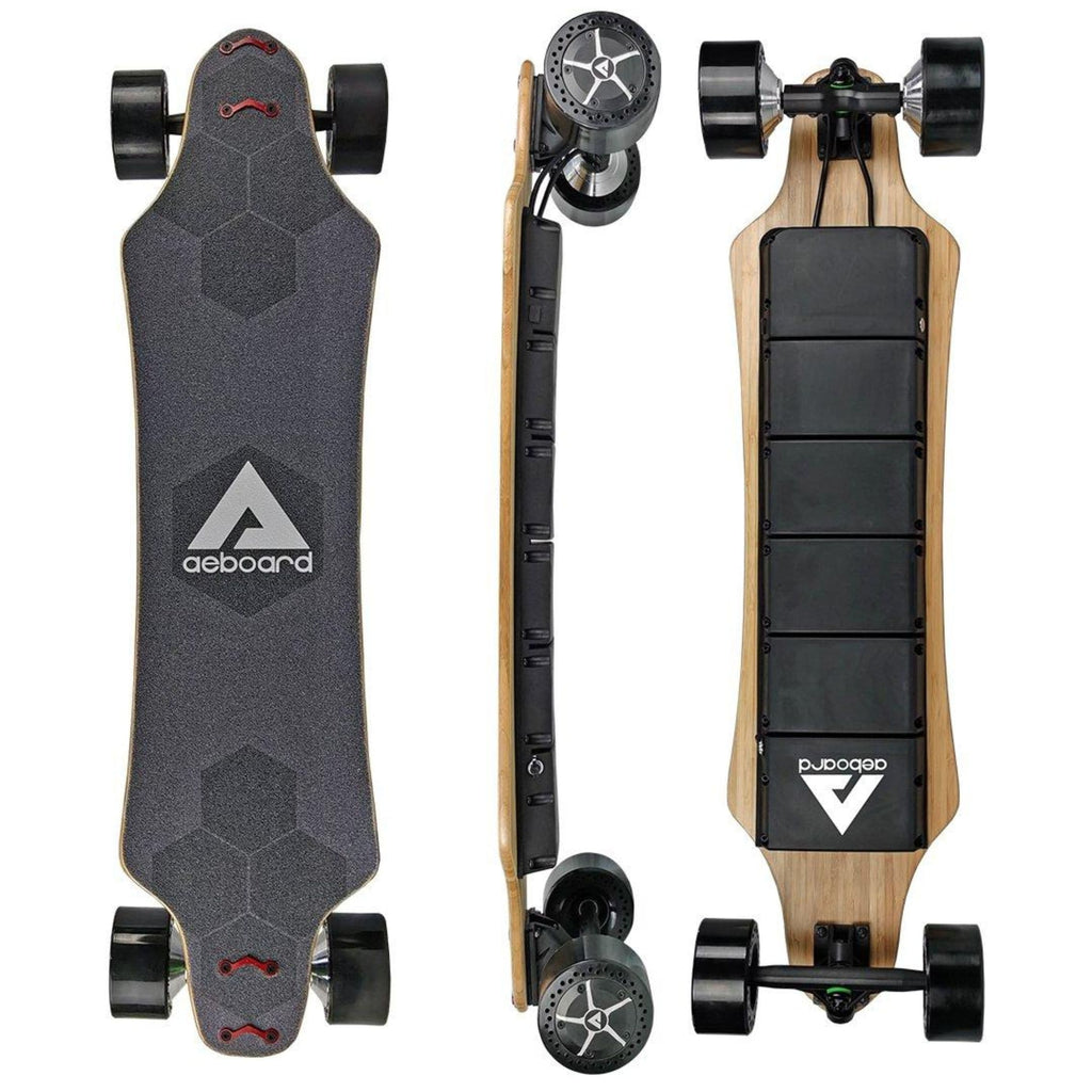 AEBoard AX Plus Electric Skateboard tall side and rear view
