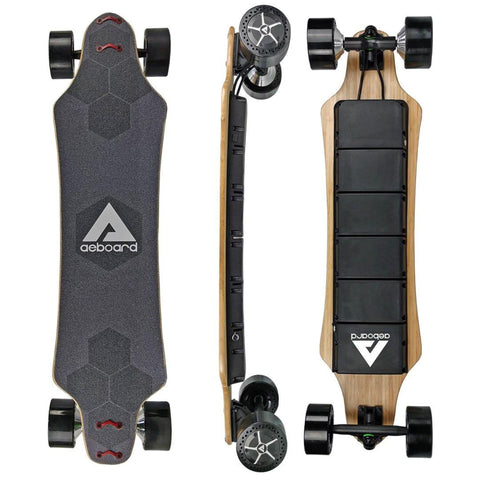 Image of AEBoard AX Plus Electric Skateboard tall side and rear view
