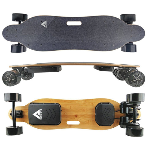 Image of AEBoard Hornet Electric Skateboard top, side and bottom board deck view