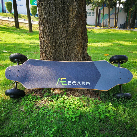 AEboard AE2 All Terrain Electric Skateboard Leaning on Tree