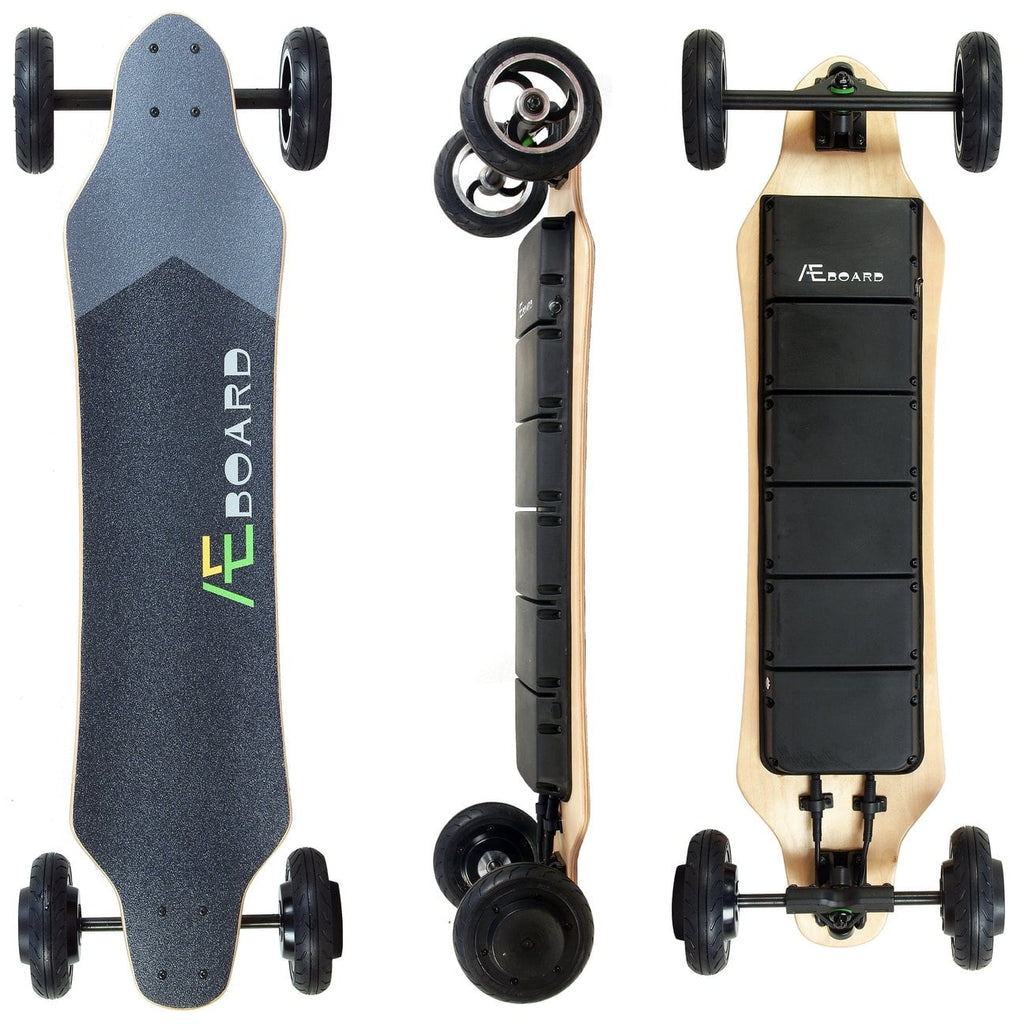 AEboard AE2 All Terrain Electric Skateboard Front Back and Side View