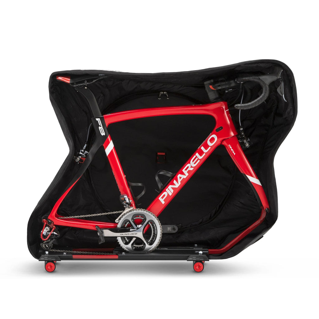 AeroComfort Road 3.0 Bike Travel Case side view open with bike