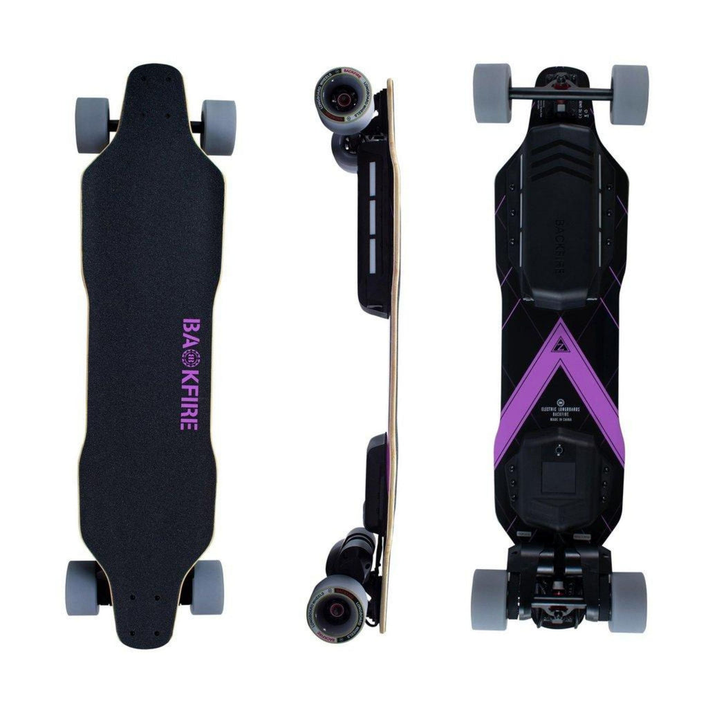 Backfire Zealot Electric Skateboard top bottom and side angle
