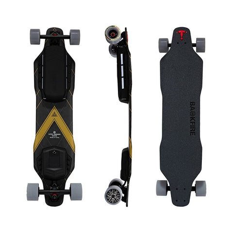 Image of Backfire G3 Plus Carbon Fiber Electric Longboard Top Side Back View