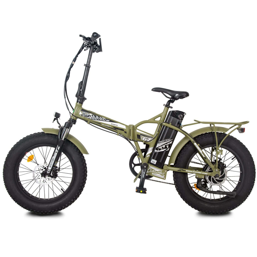 ECOTRIC 48V Fat Tire Foldable Electric Bike green