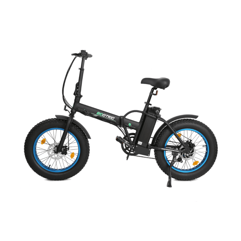 ECOTRIC 48V Fat Tire Foldable Electric Bike blue side angled view