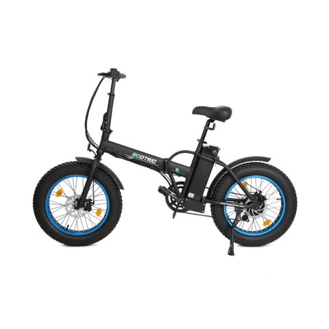 Image of ECOTRIC 48V Fat Tire Foldable Electric Bike blue side angled view