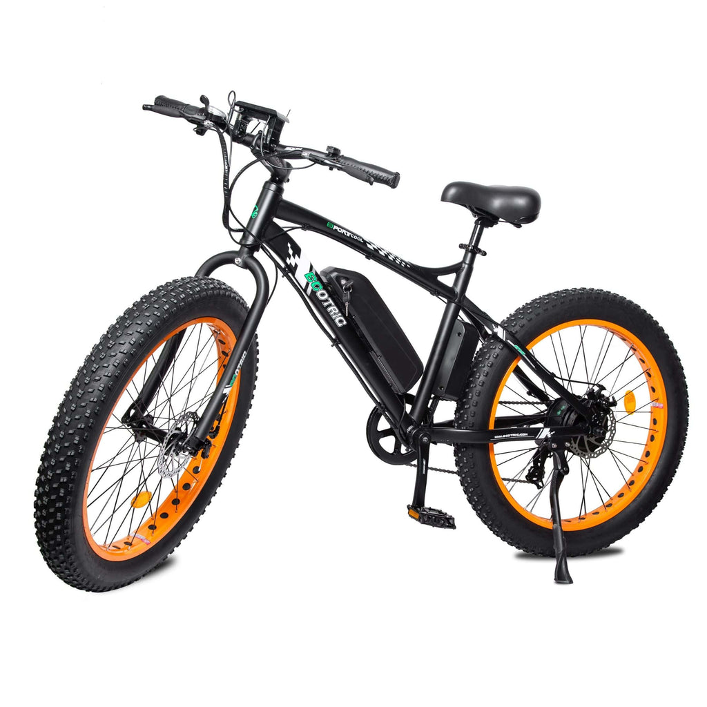 ECOTRIC Fat Tire Electric Bike orange front angle view