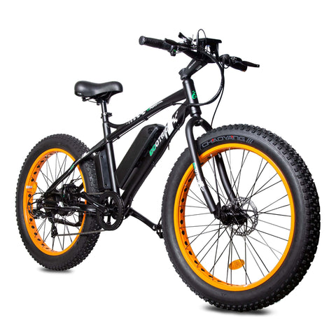 Image of ECOTRIC Fat Tire Electric Bike orange right front angle view