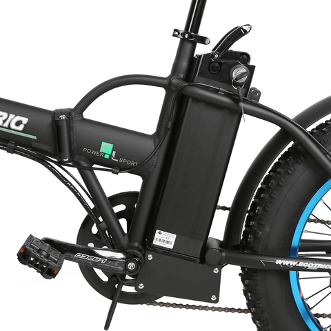 Image of ECOTRIC Fat Tire Foldable Electric Bike battery close up