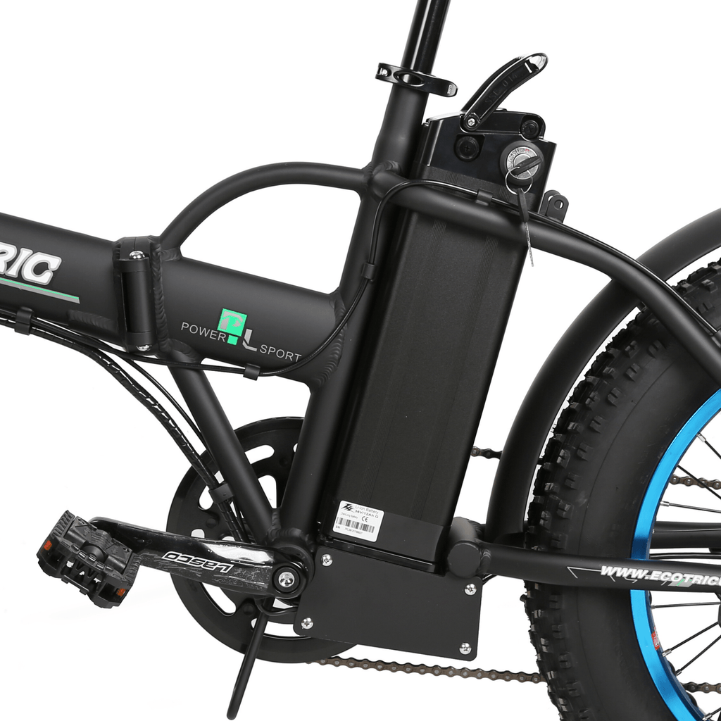 ECOTRIC 48V Fat Tire Foldable Electric Bike battery close up