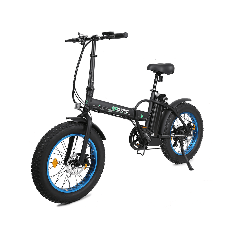 ECOTRIC Fat Tire Foldable Electric Bike blue and black front angled view