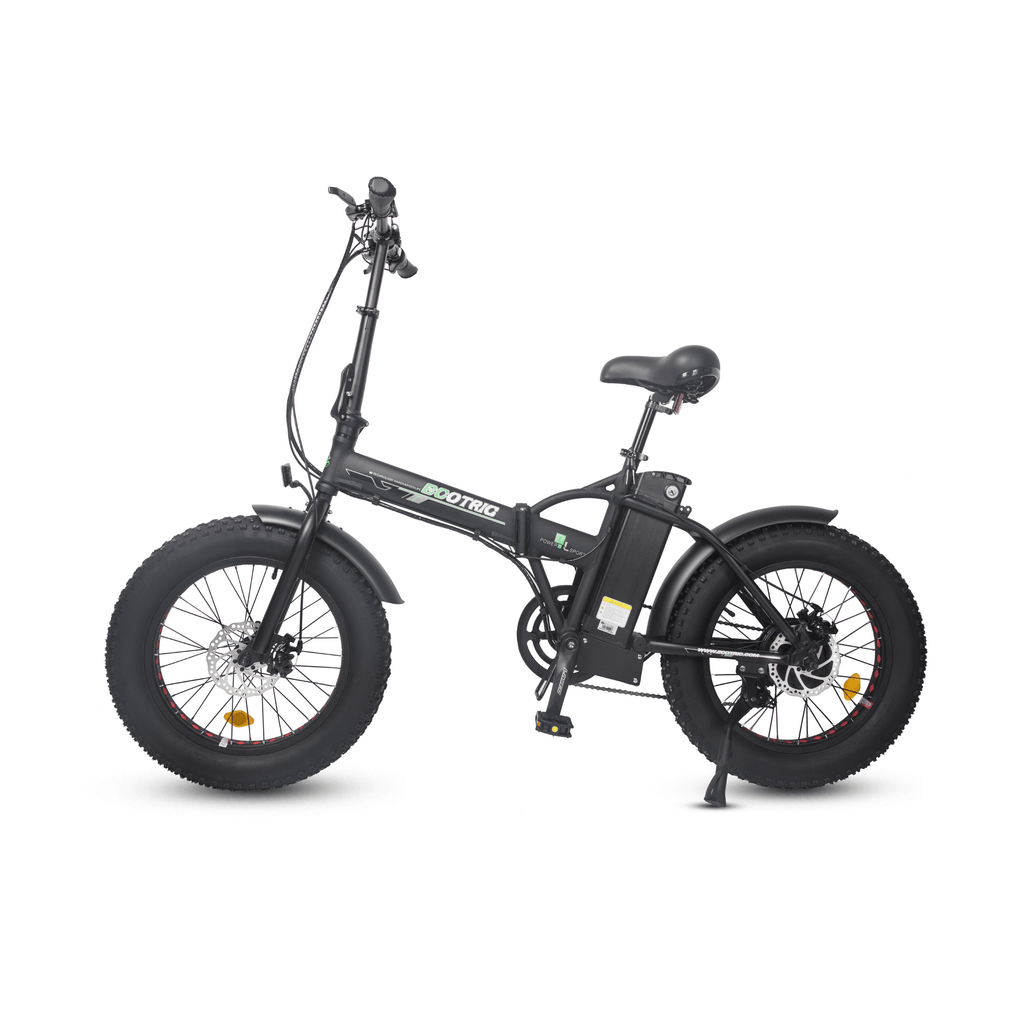 ECOTRIC 48V Fat Tire Foldable Electric Bike black side view