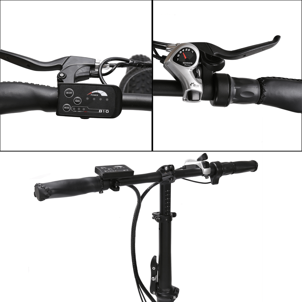 ECOTRIC Fat Tire Foldable Electric Bike gears and handle bars close up