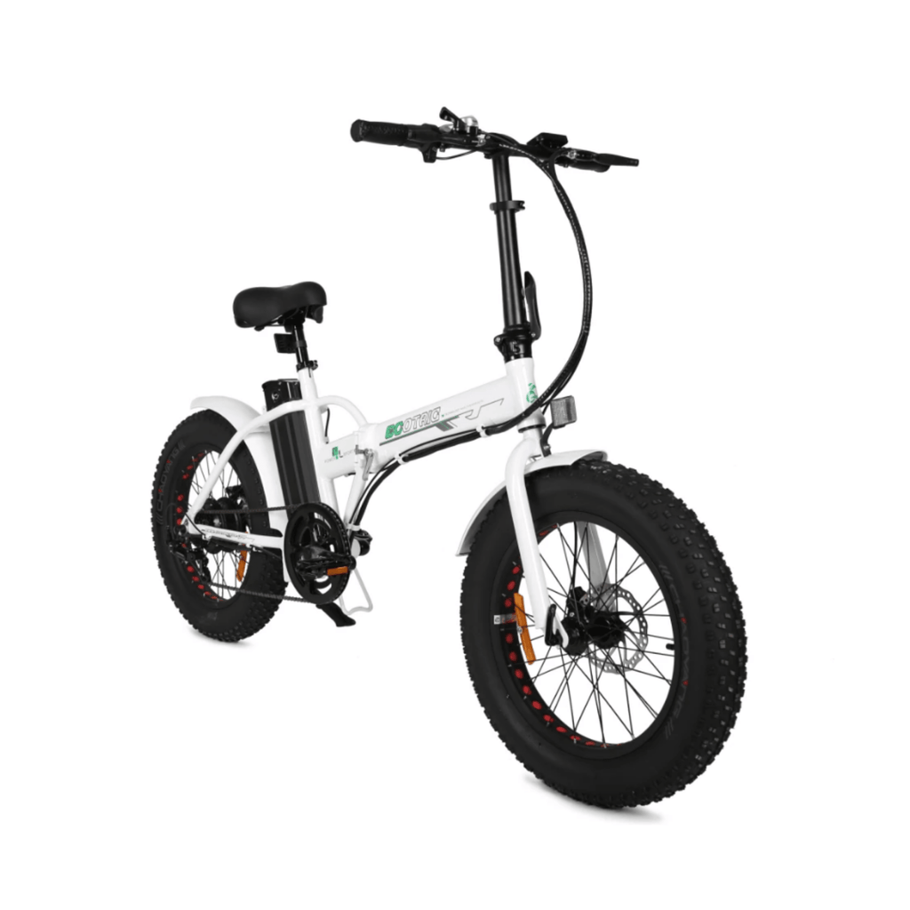 ECOTRIC Fat Tire Foldable Electric Bike white front angled view
