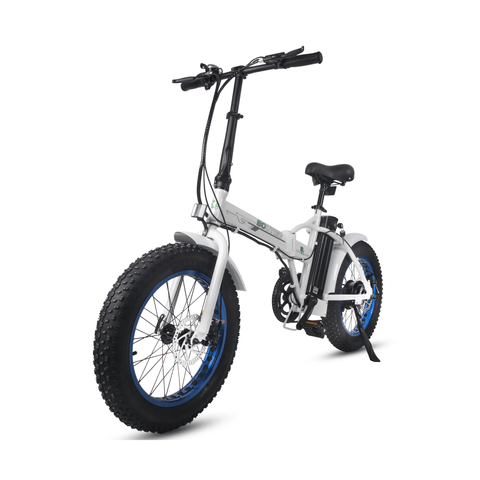 Image of ECOTRIC Fat Tire Foldable Electric Bike white front angled view left