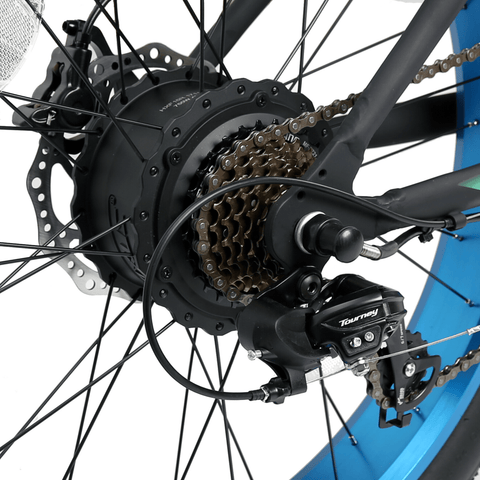 Image of ECOTRIC Hammer Fat Tire Electric Bike chain and gears close up