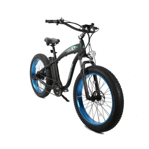 Image of ECOTRIC Hammer Fat Tire Electric Bike blue front angle view